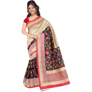 fabplus bhagalpuri silk saree with blouse piece