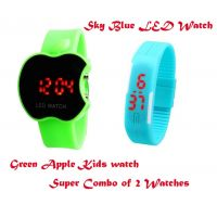 AFIYA BUY ONE GET ONE FREE Touch Screen Watch Green Apple + Sky Blue LED Combo