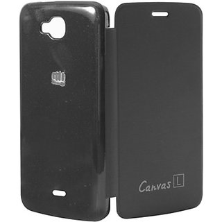 Snaptic Micromax Canvas L A108 Flip Cover BLACK