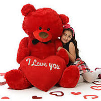 140 cm (55 inch) giant big teddy with heart ROSE RED full size valentine teddy