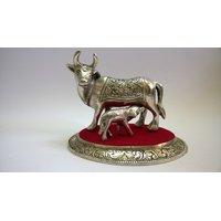 Kamdhenu (Medium Size) In White Metal And Antique Finish