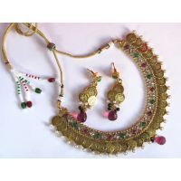 Copper Maroon and Green laxmi coin necklace set