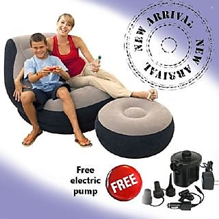 Intex Ultralounge 2 in 1 Chair Air Sofa Ottoman Style Foot Stool+Free Air Pump