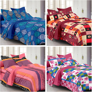 Ahem Homes Candy Cotton Double Bedsheet - 12 Pcs (CN_1236-1230-1221-1235 -AH)