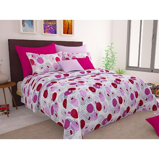 Ahem Homes Magic Pink Cotton Double Bedsheet  (M1465 -AH)