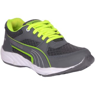 Mens Grey Green Lace-Up Running Shoes