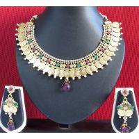 Copper Maroon drop laxmi coin necklace set