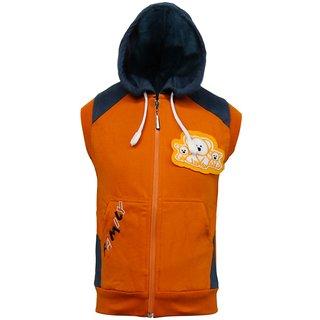 Kothari Orange And Blue Full Sleeves Fleece Sweatshirt