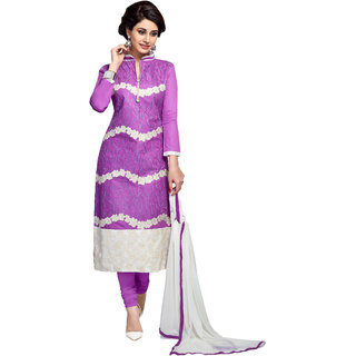 Lovely Look Purple Embroidered Un Stitched Straight Suit 4SBY1054