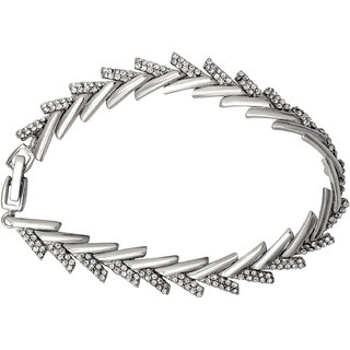 Mahi Crystal White Arrow Rhodium Plated Bracelet for Women BR1100252R