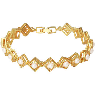 Mahi Crystal Square Pearl Gold Plated Bracelet for Women BR1100253G