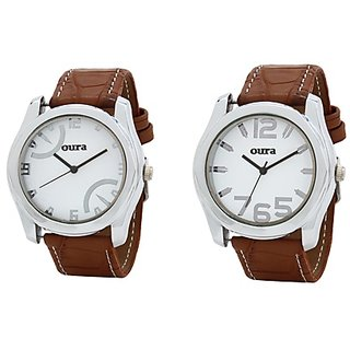 Oura Analog Casual Wear Watch For Men Pack Of 2pc