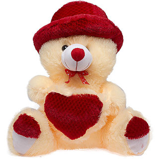 Glitters Beige Teddy with Red  Cap heart