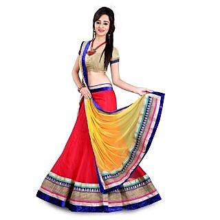Dharma Fabrics beige net lehengha choli