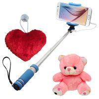 Novel  Mini Selfie Stick With Little heart  Teddy combo
