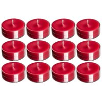 Devinez Scented (Strawberry) Smokeless Tealight Candles With Crystal Case, Red (Pack Of 12)