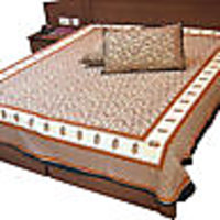 Saganeri Print Of Jaipur Designer Gold Print With Cream Base Cotton Bed Sheet