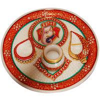 Shreeng Gold Work Marble Thali  Pooja Thali
