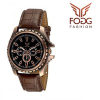 Fogg Round Dial Brown Leather Strap Mens Quartz Watch