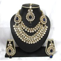 Blue stone 3 line Wedding Necklace set
