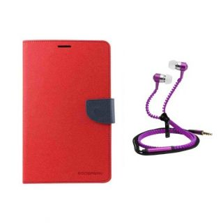 Fancy Diary Flip Cover For Redmi M i 4 With Zipper Earphone