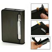 2 In 1 Automatic Cigarette Holder Dispenser Case And Refillabe Gas Lighter KK