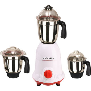 Celebration 600 Watts MG16-5 White and Red 3 Jars Mixer Grinder