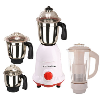Celebration 600 Watts MG16-6 White and Red 4 Jars Mixer Grinder