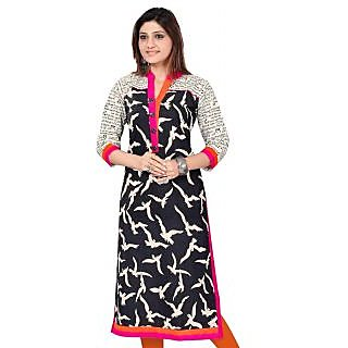 Black Cotton Long Pakistani Printed Cotton Kurtis