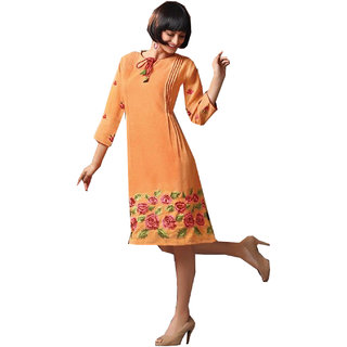 Cotton Linin Embroidered Party Wear Women Kurti(Kedarnice1016)