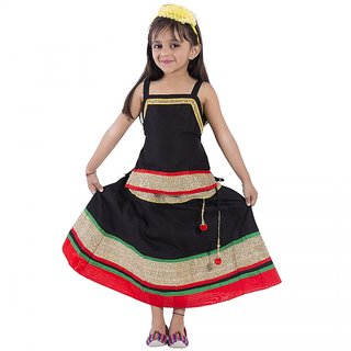 Decot Paradise Black Cotton Rajasthani Traditional Lahanga Choli