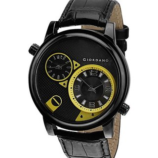 Giordano Round Dial Black Leather Strap Mens Quartz Watch