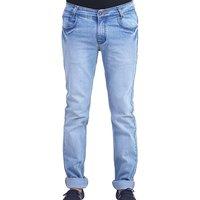 Blue Faded Cotton Blend Slim Fit Jeens