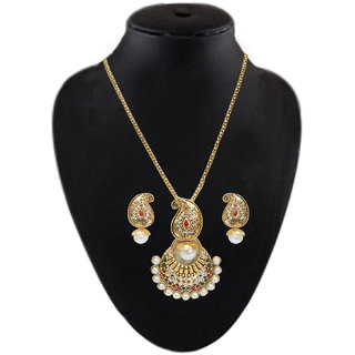 Kriaa Austrian Stone Gold Finish Pearl Chain Pendant Set  2201306 available at ShopClues for Rs.129