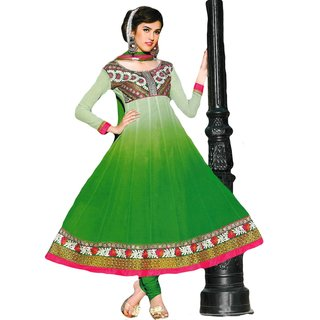 Sabrang Stylish Green Faux Georgette Anarkali Suit