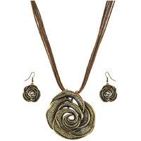 Urthn Antique Gold Thread Rose Pendant Set - 1202701