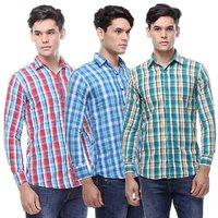 Full Sleeve Multicolour Check Casual Shirt For Men(Pack of 3)