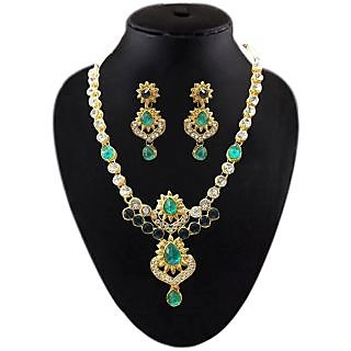 Kriaa Austrian Stone Gold Finish Gold Finish Green Necklace Set - 2201104