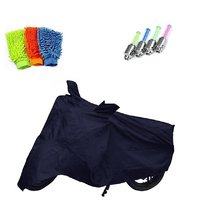 Bull Rider Brand Bike body cover with mirror pocket Perfect fit for Bajaj V15+ Free (Microfiber Gloves + Tyre LED Light) Worth Rs 250