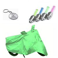 Bull Rider Bike Body Cover with Mirror Pocket for Bajaj New Discover 150 (Colour Light Green) + Free (Key Chain + Tyre LED Light) Worth Rs 250