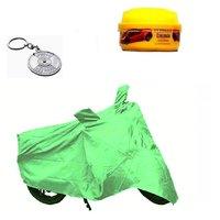 Bull Rider Bike Body Cover with Mirror Pocket for Mahindra Penturo (Colour Light Green) + Free (Key Chain + Wax Polish) Worth Rs 250