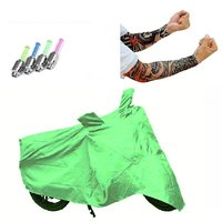 Bull Rider Bike Body Cover with Mirror Pocket for TVS ROCK 2 (Colour Light Green) + Free (Arm Tattoo + Tyre LED Light) Worth Rs 250