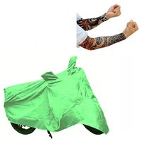 Bull Rider Bike Body Cover with Mirror Pocket for TVS MAX 100 (Colour Light Green) + Free 1 Pair Arm Sleeves Worth Rs 150/