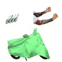 Bull Rider Bike Body Cover with Mirror Pocket for Bajaj Pulsar 200 NS (Colour Light Green) + Free (LED Light + Arm Sleeves) Worth Rs 250