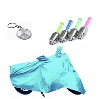 Bull Rider Bike Body Cover with Mirror Pocket for TVS ROCK 2 (Colour Cyan) + Free (Key Chain + Tyre LED Light) Worth Rs 250