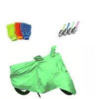 Bull Rider Bike Body Cover with Mirror Pocket for Bajaj Pulsar 200 NS (Colour Light Green) + Free (Microfiber Gloves + Tyre LED Light) Worth Rs 250