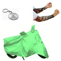 Bull Rider Bike Body Cover with Mirror Pocket for TVS MAX 4R (Colour Light Green) + Free (Key Chain + Arm Sleeves) Worth Rs 250