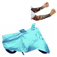Bull Rider Bike Body Cover with Mirror Pocket for Honda CB Trigger (Colour Cyan) + Free 1 Pair Arm Sleeves Worth Rs 150/