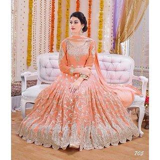 DharMee Orange Net Semi Stitched Suit