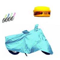 Bull Rider Bike Body Cover with Mirror Pocket for Bajaj Pulsar 200 NS (Colour Cyan) + Free (LED Light + Wax Polish) Worth Rs 250